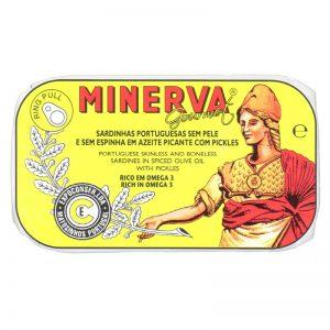 Sardinhas Sem Pele e Sem Espinhas em Azeite Picante com Picles Minerva 120g