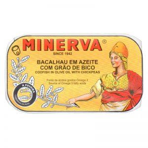 Bacalhau em Azeite com Grão-de-Bico Minerva 120g