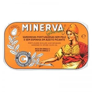 Minerva Sardines without Skin and Bones in Hot Olive Oil 120g