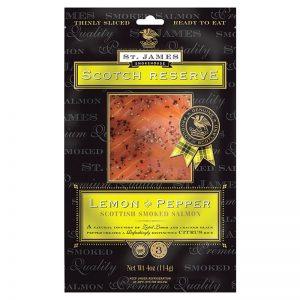 St. James Smokehouse Lemon and Pepper Scottish Smoked Salmon Scotch Reserve  100g