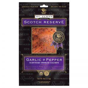 St. James Smokehouse Garlic and Pepper Scottish Smoked Salmon Scotch Reserve 100g