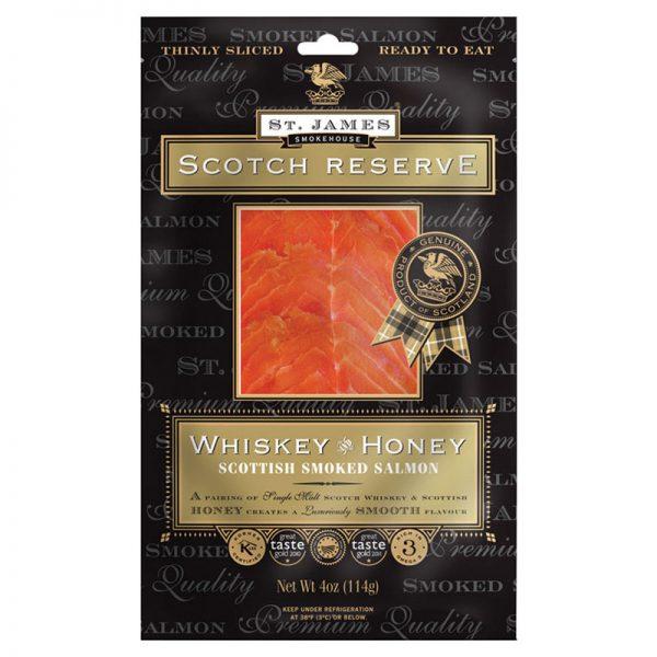 Salmão Fumado Escocês Fatiado com Whisky e Mel Scotch Reserve St. James Smokehouse 100g