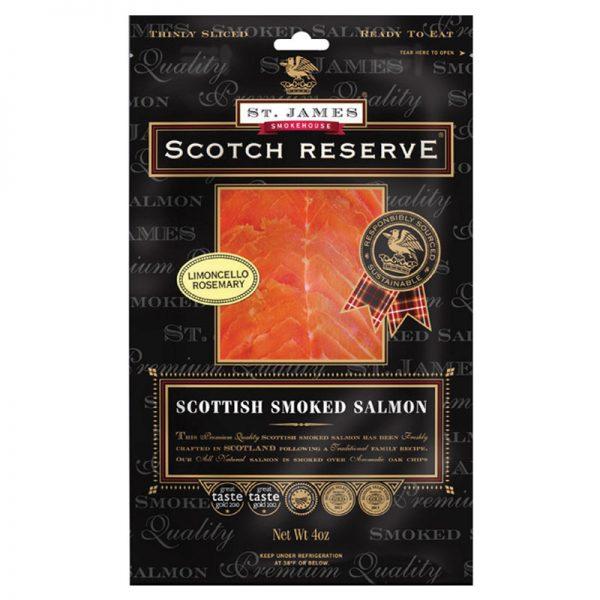 Salmão Fumado Escocês Fatiado com Limoncello e Alecrim Scotch Reserve St. James Smokehouse 100g
