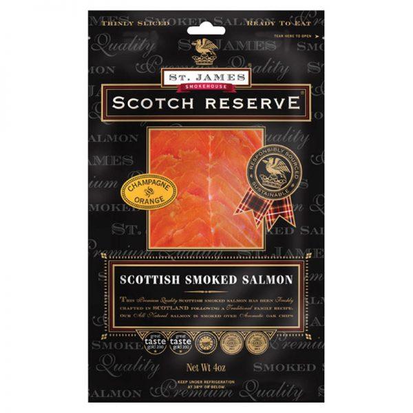 Salmão Fumado Escocês Fatiado com Champanhe e Laranja Scotch Reserve St. James Smokehouse 100g