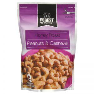 Amendoins e Cajus Torrados com Mel Forest Feast 250g