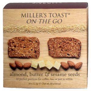 Tostas com Amêndoas Manteiga e Sésamo Millers Toast Artisan Biscuits 125g