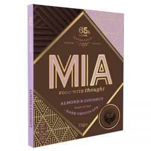 Chocolate Preto 65% com Amêndoa e Coco MIA 75g