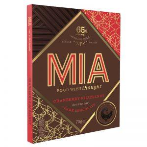 Chocolate Preto 65% com Cranberry e Avelã MIA 75g