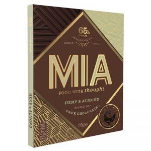 Chocolate Preto 65% com Cânhamo e Amêndoa MIA 75g