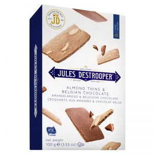Thins Amêndoa e Chocolate Belga Jules Destrooper 100g