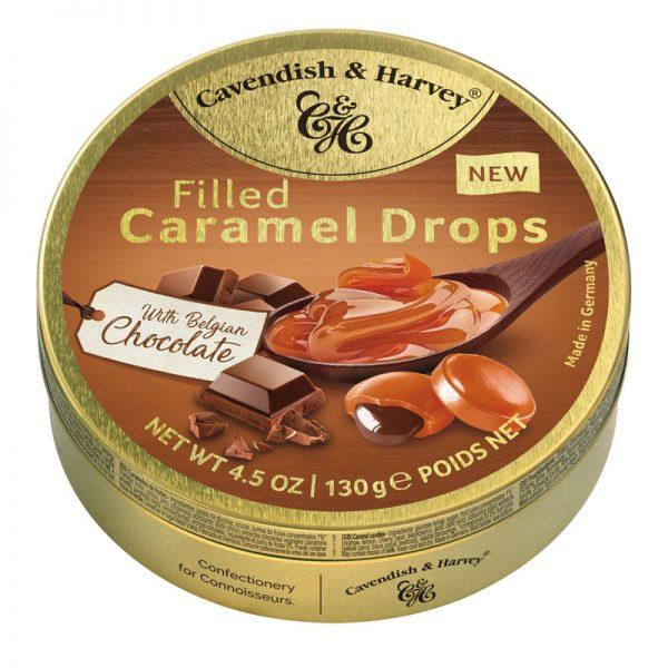 Rebuçados de Caramelo Recheados com Chocolate Belga em Lata Cavendish & Harvey 130g