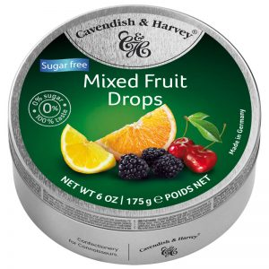 Cavendish & Harvey Sugar Free Mixed Fruit Drops in Tin 175g