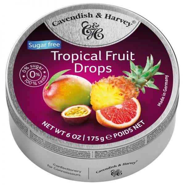 Rebuçados de Frutos Tropicais sem Açúcar em Lata Cavendish & Harvey 175g