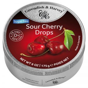 Cavendish & Harvey Sugar Free Sour Cherry Drops in Tin 175g