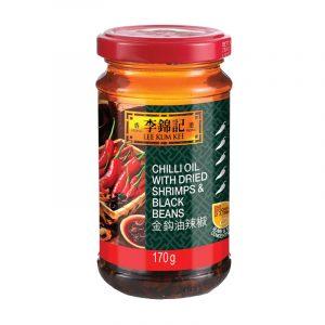 Óleo de Chilli com Camarões Secos e Soja Preta Lee Kum Kee 170g
