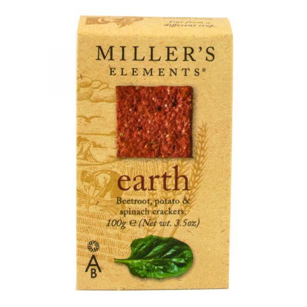 Crackers Earth de Beterraba Batata e Espinafres Millers Elements Artisan Biscuits 100g