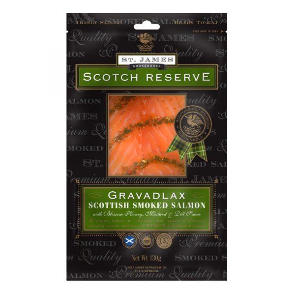 Salmão Fumado Escocês Fatiado Gravadlax Scotch Reserve St. James Smokehouse 130g